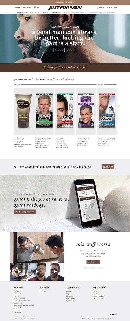 Just for Men website design with hero image of man shaving his beard